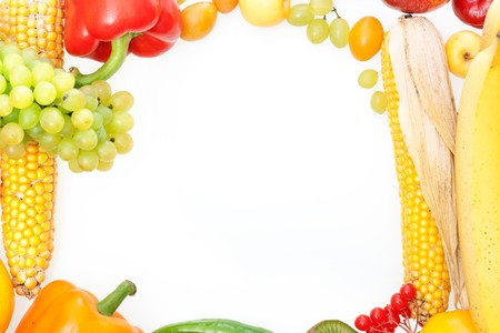 frame of fresh vegetables and fruits