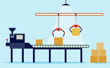Ilustración de Illustration of production in flat style. conveyor and boxes. - Imagen libre de derechos