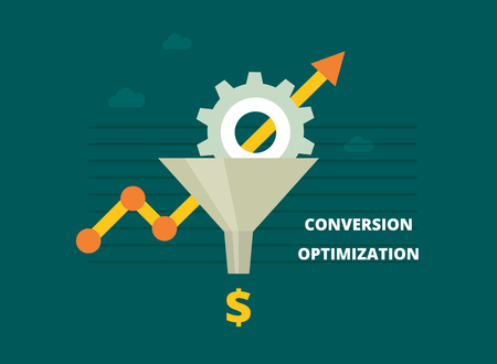 Ilustración de Conversion Rate Optimization - vector illustration. Internet marketing conversion concept with Sales Funnel and growth chart. Conversion optimization banner in flat style. - Imagen libre de derechos