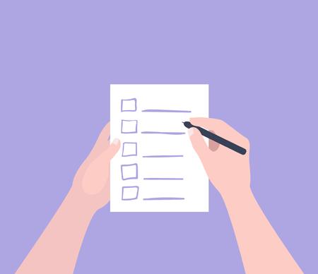 Illustration pour Hand holding filling form Checklist. To Do List Flat Vector Illustration. - image libre de droit