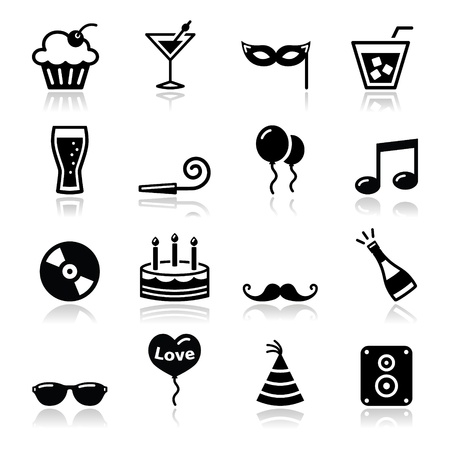 Party icons set - birthday, New Year s, Christmas