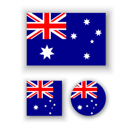 Illustration for Set of vector icons with Australia flag - Royalty Free Image