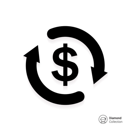 Illustration pour Icon of dollar sign in circle made of arrows - image libre de droit