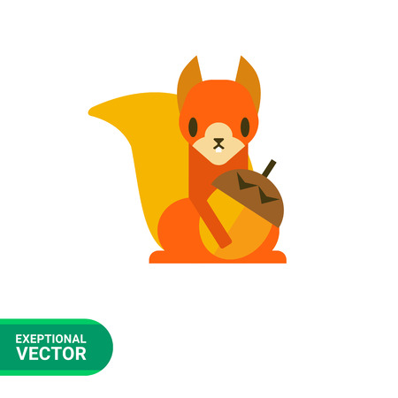 Multicolored vector icon of squirrel holding nut