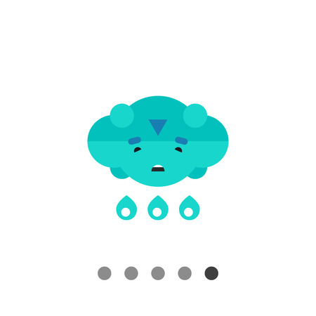 Multicolored vector icon of cloud with sad face and heavy rain