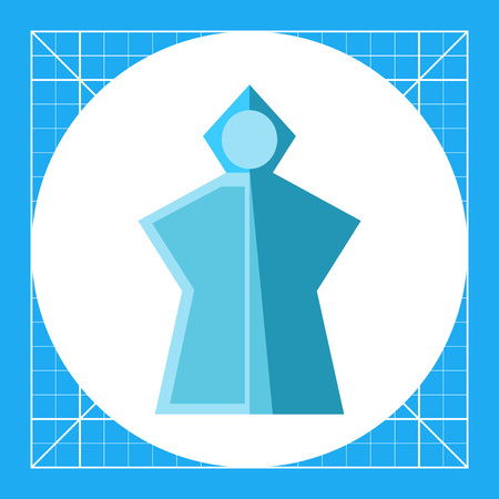 Vector icon of blue lightweight rain poncho with hood