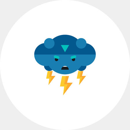 Multicolored vector icon of thunder representing cloud with frown face and lightning