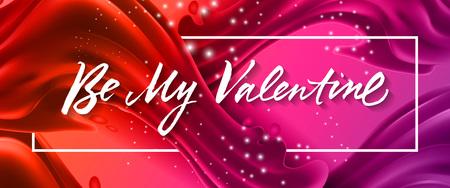 Ilustración de Be my Valentine lettering in frame vector illustration - Imagen libre de derechos