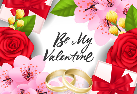 Ilustración de Be my Valentine lettering with wedding rings, present boxes and flowers. Calligraphic inscription can be used for greeting cards, festive design, posters, banners - Imagen libre de derechos