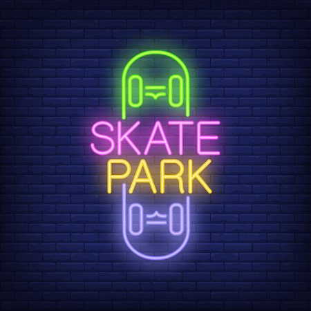 Illustration for Skate park neon text on skateboard icon. - Royalty Free Image