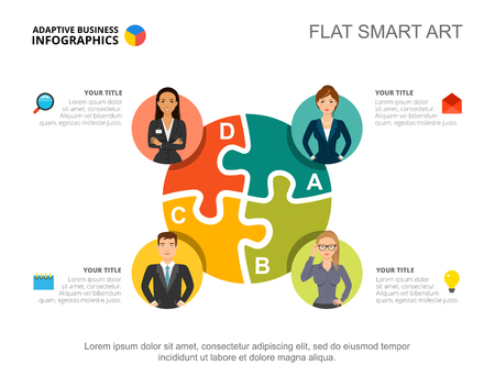 Ilustración de Business infographics with jigsaw chart and team icons. Editable presentation slide template, flat smart art. Data for business staff, teamwork, human resources - Imagen libre de derechos