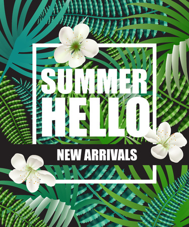 Illustration pour Hello summer, new arrivals poster design with blossoms and tropical leaves in background. Text in frame can be used for brochure, labels, banners. - image libre de droit