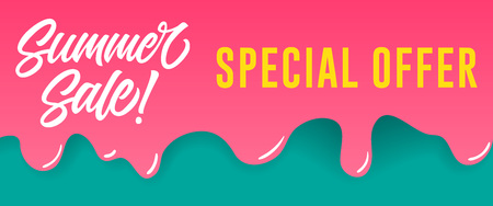 Summer sale, special offer lettering on dripping paint. Summer offer or sale advertising design. Handwritten and typed text, calligraphy. For leaflets, brochures, invitations, posters or banners.