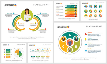 Ilustración de Colorful research and planning infographic charts set. Business design elements for presentation slide templates. Consulting concept can be used for annual report, flyer layout and banner design. - Imagen libre de derechos