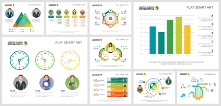 Illustrazione per Colorful planning or ecology concept infographic charts set. Business design elements for presentation slide templates. For corporate report, advertising, leaflet layout and poster design. - Immagini Royalty Free