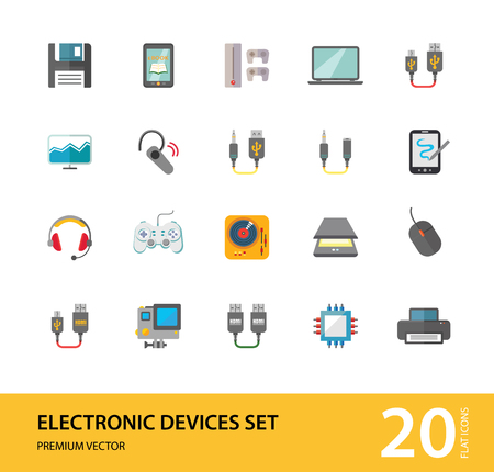 Illustration for Electronic devices icon set. Smartphone, laptop, camera, printer, cpu, server. Information technology concept. Can be used for topics like hardware, smart technology, data communication - Royalty Free Image