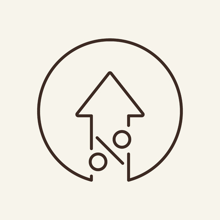 Illustration pour Increase line icon. Arrow up and percent sign in circle. Finance concept. Vector illustration can be used for topics like banking, interest rate, growth, profit - image libre de droit
