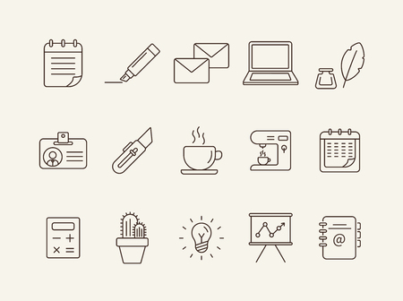 Ilustración de Office icon set. Line icons collection on white background. Coffee, planner, freelancing. Management concept. Can be used for topics like business, work, presentation - Imagen libre de derechos