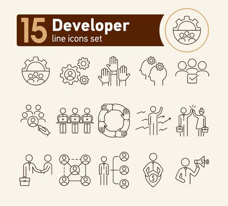 Illustrazione per Developer line icon set. Leader, team, deal. Business concept. Can be used for topics like leadership, team success, teamwork - Immagini Royalty Free