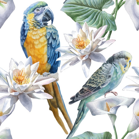 Illustration pour Seamless pattern with flowers and birds. Watercolor Hand drawn. - image libre de droit