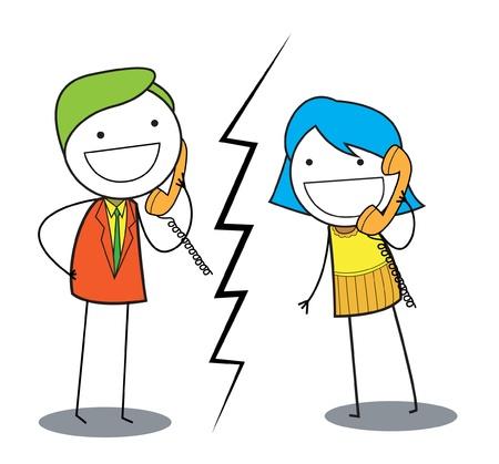 Illustration pour couple call - image libre de droit