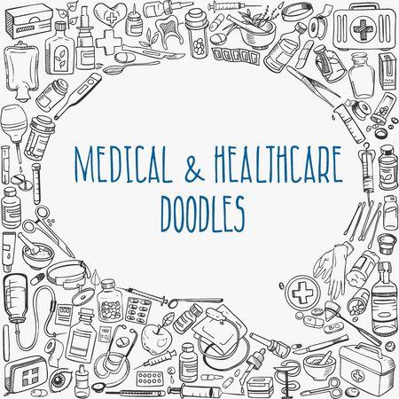 Foto de medicine doodle background - Imagen libre de derechos