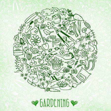 Illustration pour hand drawn garden background - image libre de droit