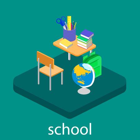 Illustration pour Isometric interior of school. Children learn at school - image libre de droit