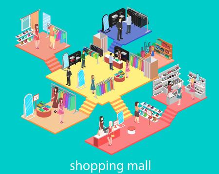 Ilustración de isometric interior of shopping mall. Flat 3d vector illustration. - Imagen libre de derechos