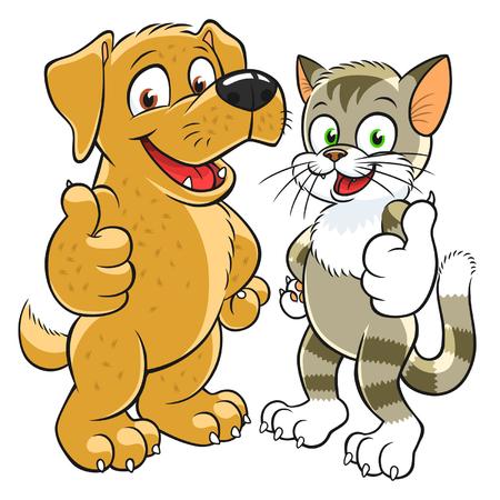 Ilustración de pets gesturing thumb up - Imagen libre de derechos