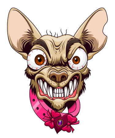 Illustrazione per Head of angry cartoon chihuahua - Immagini Royalty Free