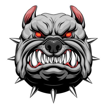 Illustrazione per Angry bulldog head - Immagini Royalty Free