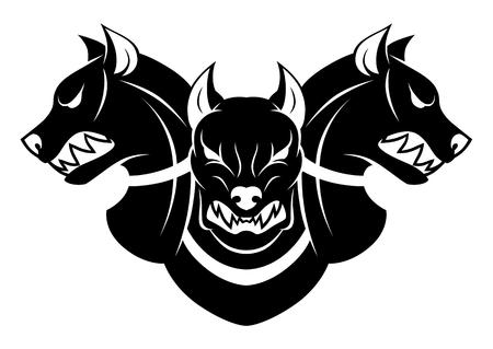 Illustrazione per Cerberus heads black and white - Immagini Royalty Free
