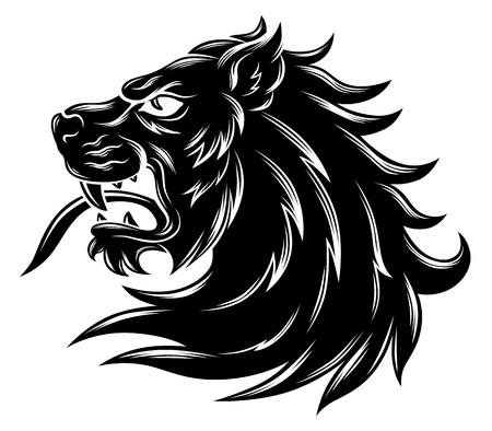 Illustration for Heraldic lion head - Royalty Free Image