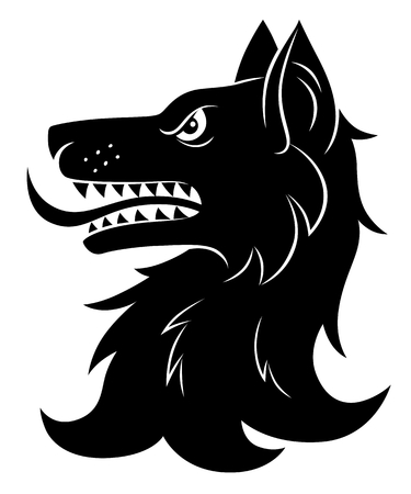 Illustration for Heraldic wolf head - Royalty Free Image