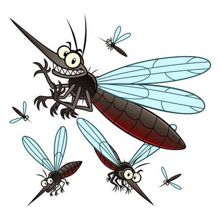 Ilustración de Vector illustration of flying cartoon mosquitoes. - Imagen libre de derechos