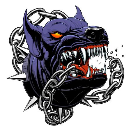 Illustrazione per Black angry dog broke the chain - Immagini Royalty Free