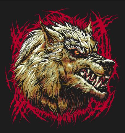 Illustrazione per Bad wolf head - Immagini Royalty Free