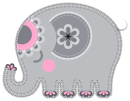 Applique' work in the form of elephant from a fabric