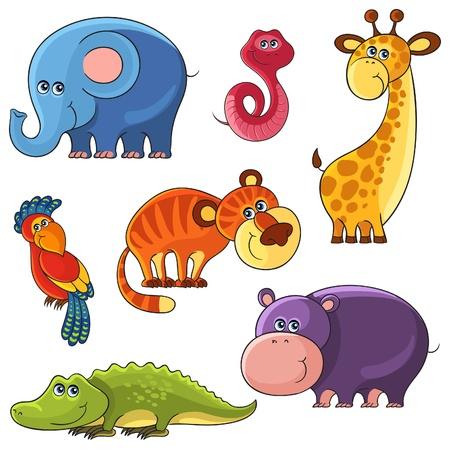 cartoon set of African wild animal characters