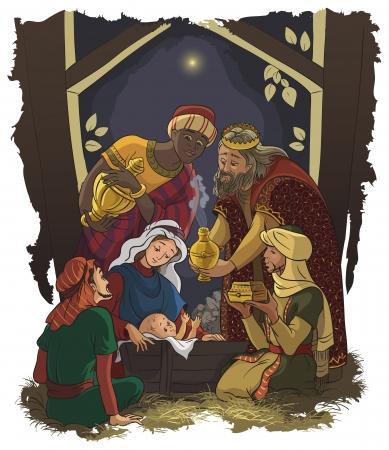 Illustration pour Nativity scene  Jesus, Mary, Joseph and the Three Kings - image libre de droit