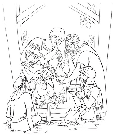 Illustration for Jesus, Mary, Joseph and the Three Kings  Coloring page - Royalty Free Image