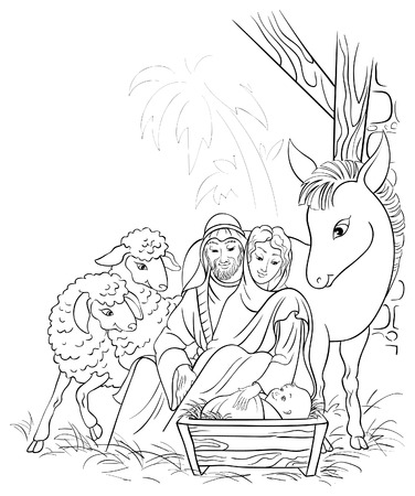 Illustration pour Black and white illustration of Christmas nativity scene with Holy Family - image libre de droit