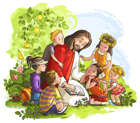 Illustration pour Vector illustration for Jesus reading the Bible with Children - image libre de droit