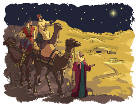 Illustration pour Three wise men following the star of Bethlehem - image libre de droit
