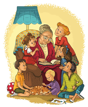 Illustration for Grandmother  sitting in chair reads a book to her grandchildren - Royalty Free Image