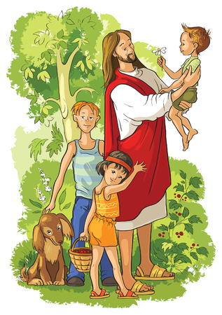 Illustration for jesus with children - Royalty Free Image