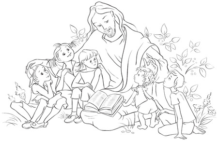 Illustration pour Jesus reading the Bible to Children. Coloring page - image libre de droit