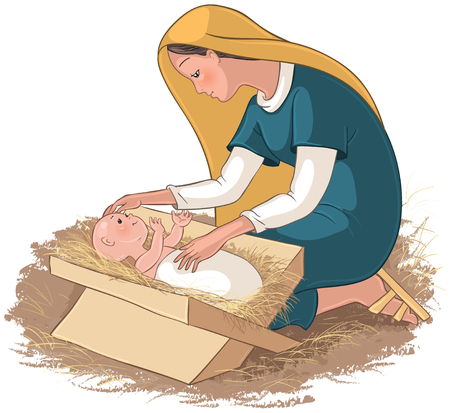 Illustration pour Mother mary with child jesus in the manger - image libre de droit