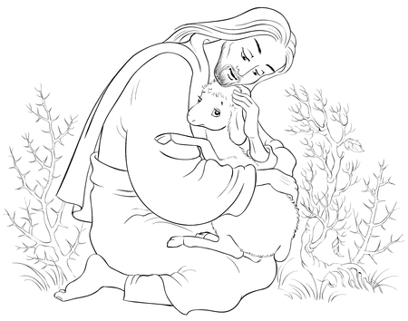 Illustration for History of Jesus Christ. The Parable of the Lost Sheep. The Good Shepherd Rescuing a Lamb Caught in Thorns Coloring Page. Also available colored version - Royalty Free Image